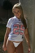 cristal coed in her football jersey and thong