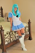 danielle ftv knee high boots and blue wig