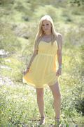 blonde lia 19 hot yellow dress pics
