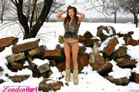 london hart outside in her panties and vest